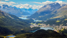 Panoramic View From Muottas Muragl (Engadin, Switzerland), In The Swiss Canton Of Graubunden. It Overlooks Engadin, Between The Towns Of Samedan, Pontresina And St. Moritz Towards Silvaplana.