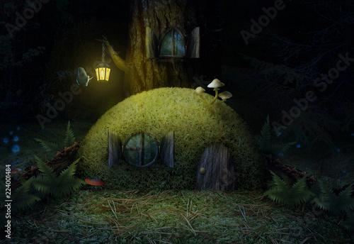 Fotografie, Obraz  Сказочный домик в ночном лесу.
