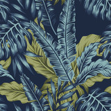 Tropical leaves green seamless dark blue background - 224001831