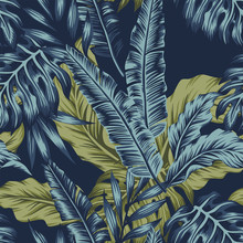 Tropical Leaves Green Seamless Dark Blue Background