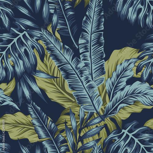tropikalnych-lisci-zielony-bezszwowy-zmrok-blekitny-tlo