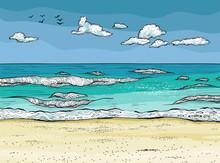 Waves Splashed On The Sandy Beach.