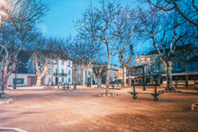 Beautiful Night Cityscape, Tree Illumination, Lights And Benches, Central Square Saint-Tropez, Provence, France