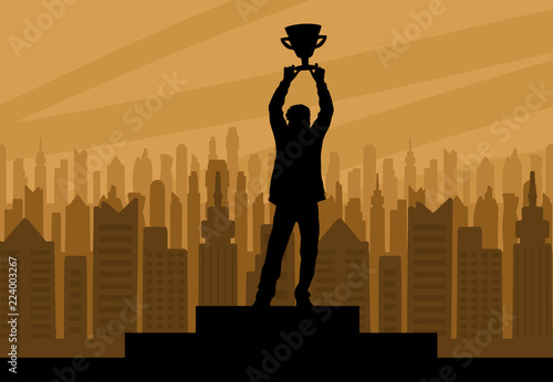Canvas Human champion silhouette with cup