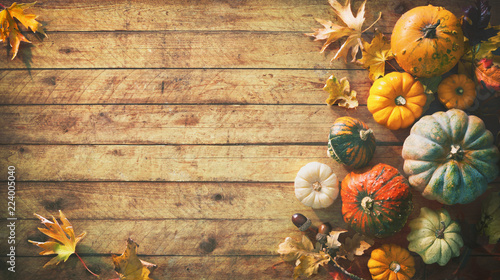 Foto op Canvas Herfst Thanksgiving pumpkins with fruits and falling leaves