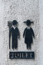 Close Up Vintage Toilet Sign