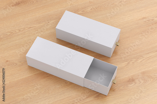 Photo  Open and closed blank empty long boxes