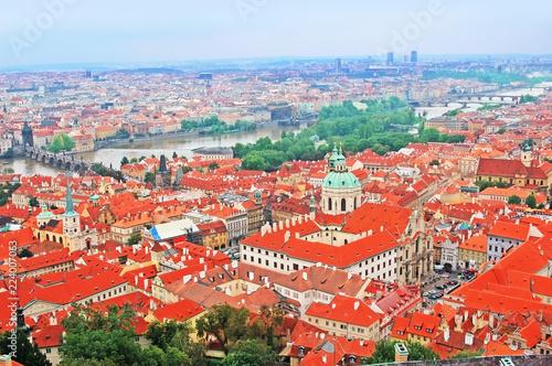 Staande foto Praag Czech Republic, Prague, View over historic center of Prague with castle Prague city panorama, red roofs of Prague