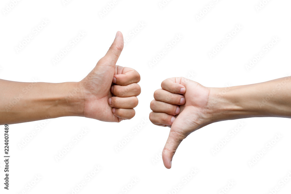 Fototapeta Thumbs up and thumbs down on white background