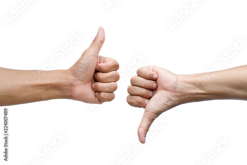 Fototapeta Thumbs up and thumbs down on white background obraz