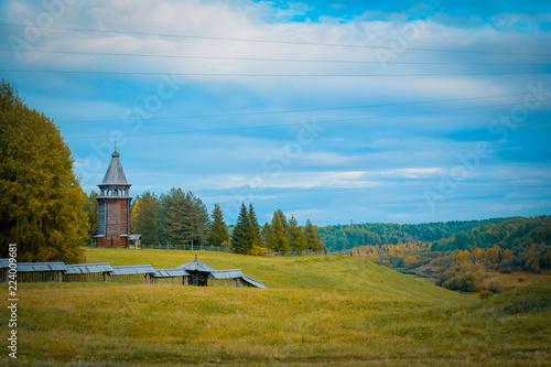Fotobehang Blauw tourism in small Karelians near Arkhangelsk