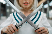 Anime Style Blonde Girl With Swords, Cute Lolita