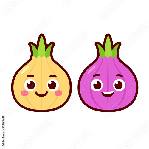 Fototapeta Cute cartoon onion characters obraz