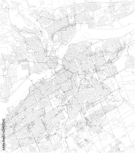 Cartina di Ottawa, vista satellitare, mappa in bianco e nero Wallpaper Mural