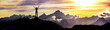 canvas print picture - Bergsteigerin am Gipfel