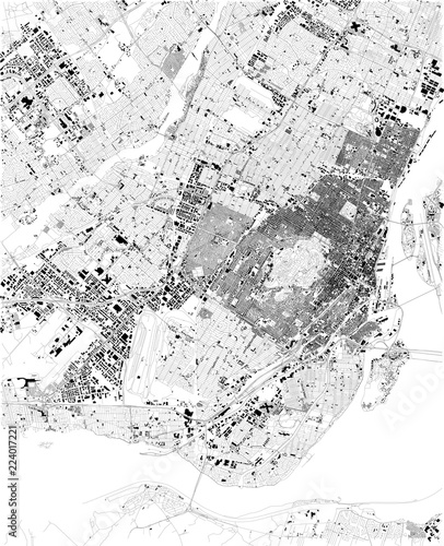 Photo Cartina di Montreal, vista satellitare, mappa in bianco e nero