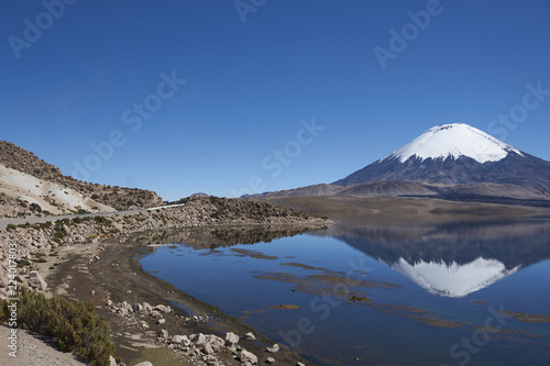 Foto auf Gartenposter Reflexion Snow capped Parinacota Volcano, 6,324m high, reflected in Lake Chungara on the Altiplano of northern Chile.