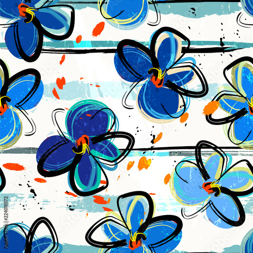 floral seamless pattern background, with stripes, paint strokes and splashes