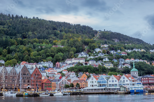 Photo Stands Caribbean View of the Bryggen waterfront in Bergen in Norway early in the morning - 2