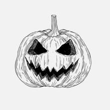 Vector Hand Drawn Halloween Pumpkin With Evil Scary Smile.