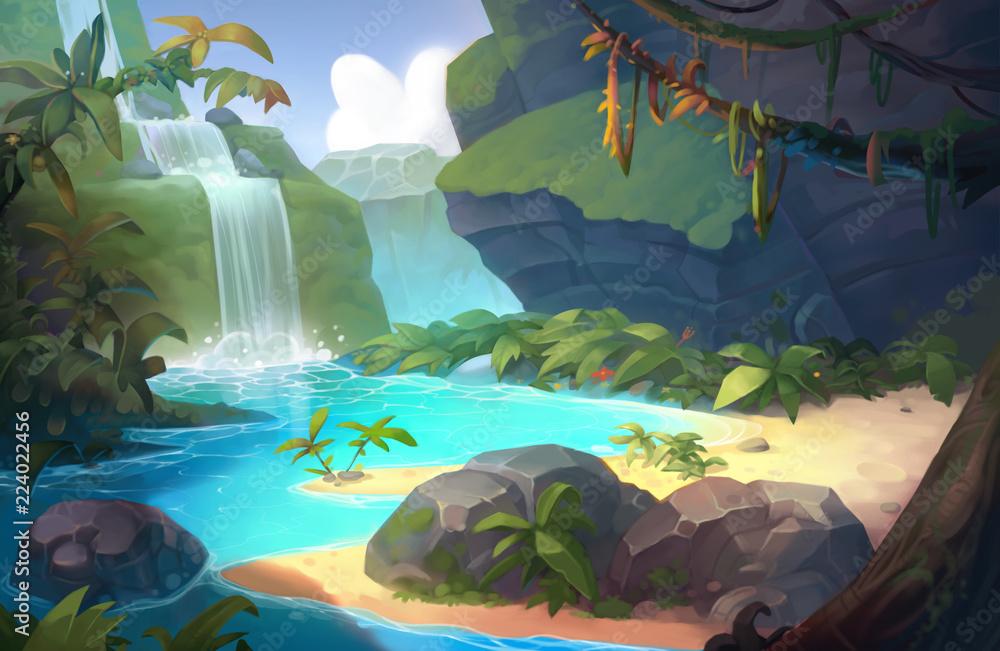 Tło gry wodospad <span>plik: #224022456 | autor: Ruslan</span>