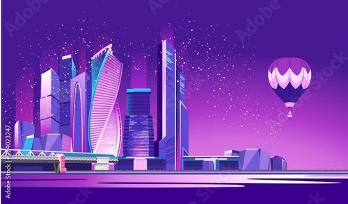 Spoed Foto op Canvas Violet Moscow city neon