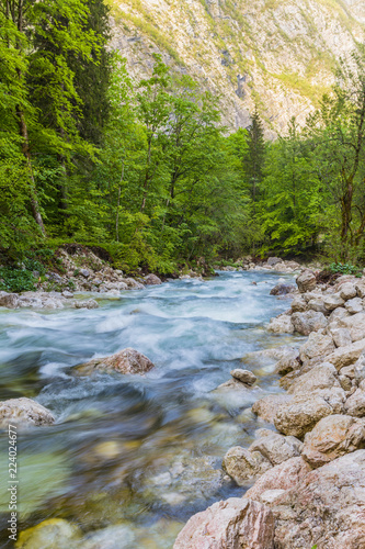 Fotografia  mountain river on the bachground rocks, Slovenia, Europe