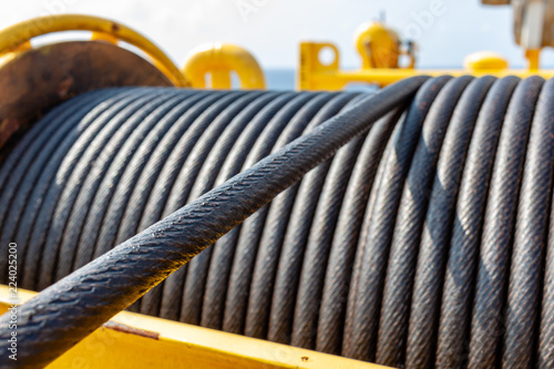 Wire rope sling or cable sling on crane reel drum  or winch roll of crane the li Canvas