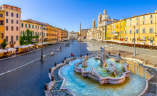 Navona Square (Piazza Navona) In Rome, Italy. Rome Architecture And Landmark. Piazza Navona Is One Of The Main Attractions Of Rome And Italy.