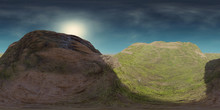 HDRI Map, Spherical Environment Panorama Background With Green Hills, Light Source Rendering (3d Equirectangular Illustration)