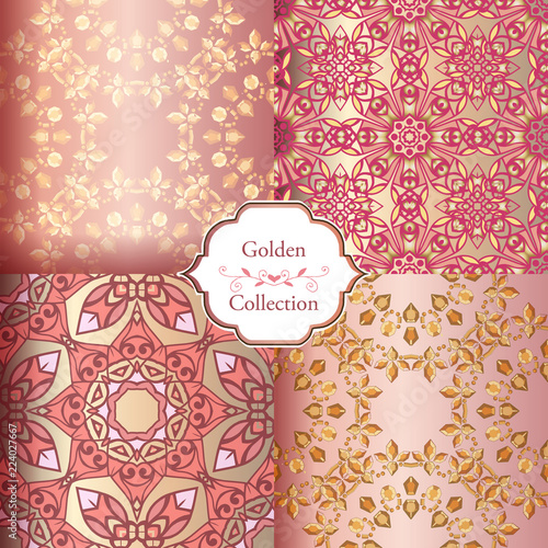 Collection Of Luxury Seamless Patterns Vintage Pink And Gold Wallpaper Victorian Damask Pattern