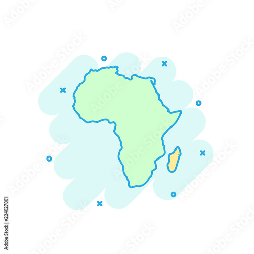 Cartoon Colored Africa Map Icon In Comic Style Africa Sign