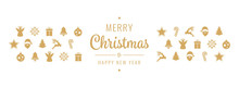 Christmas Golden Icon Ornament Elements Isolated Background