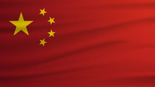 China Flag Realistic Waving Flag. 3d Shaded Flag Texture.