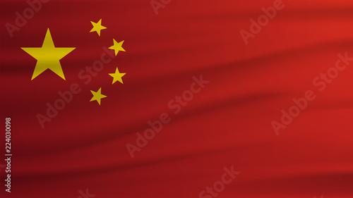 Foto china flag Realistic waving flag. 3d shaded flag texture.