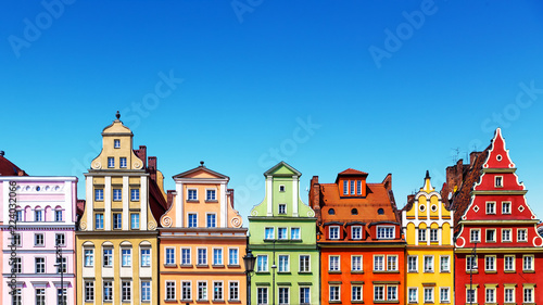 Printed kitchen splashbacks European Famous Place Old color houses in Wroclaw, Poland