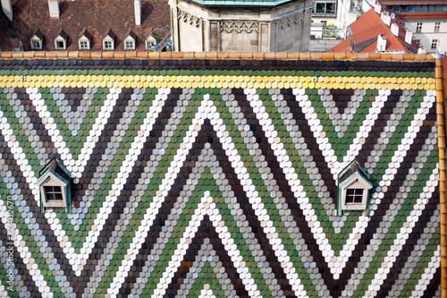 Austria, Vienna, capital city cityscape, tiled roof with pattern of St. Stephen's Cathedral