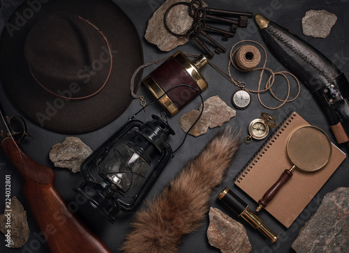 Flat lay with wild west vintage objects. Exploration, adventure concept.