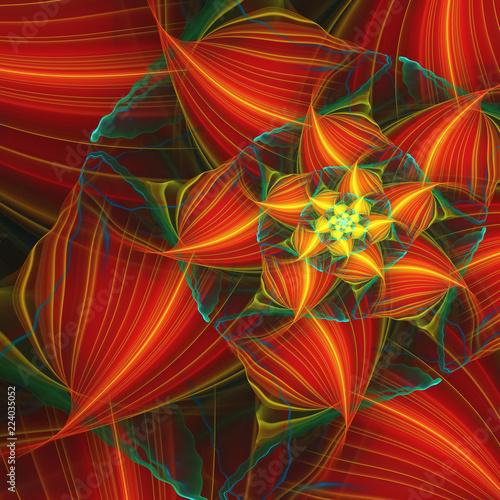 Staande foto Fractal waves Abstract exotic red flower. Close-up view. Fantasy fractal design. Psychedelic digital art. 3D rendering.