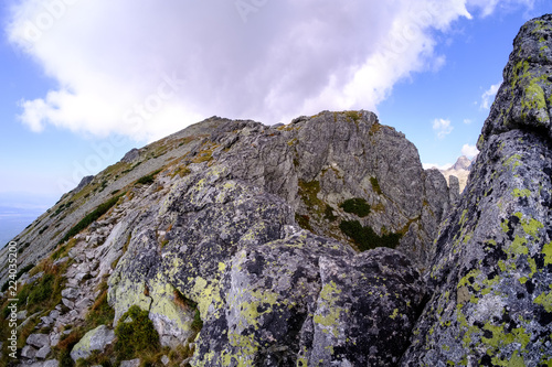 rocky sharp mountain tops in Tatra mountains in Slovakia