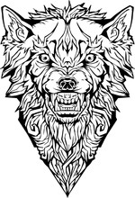 Angry Wolf. Isolated. Coloring Page.