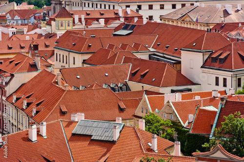 Staande foto Praag Prague traditional red roofs. Prague city, Czech republic