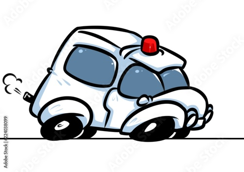 Staande foto Cartoon cars Ambulance car emergency call cartoon illustration isolated image