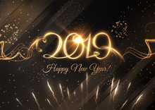 2019 Abstract New Year Holiday Background. Vector Eps10