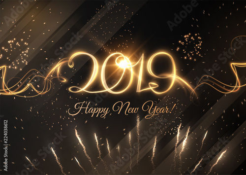 Photo  2019 abstract New Year holiday background. Vector eps10
