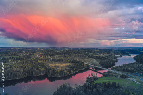 Foto op Canvas Lavendel smaalenene bridge norway spydeberg sunset