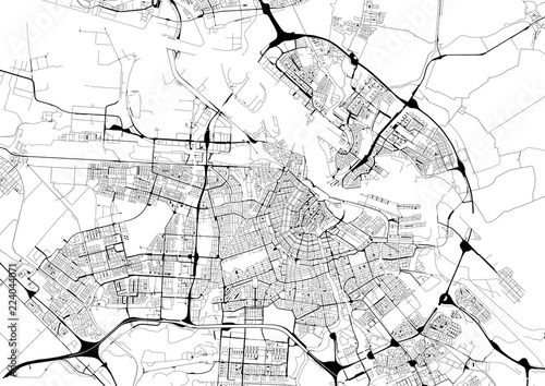 Photo  Monochrome city map with road network of Amsterdam