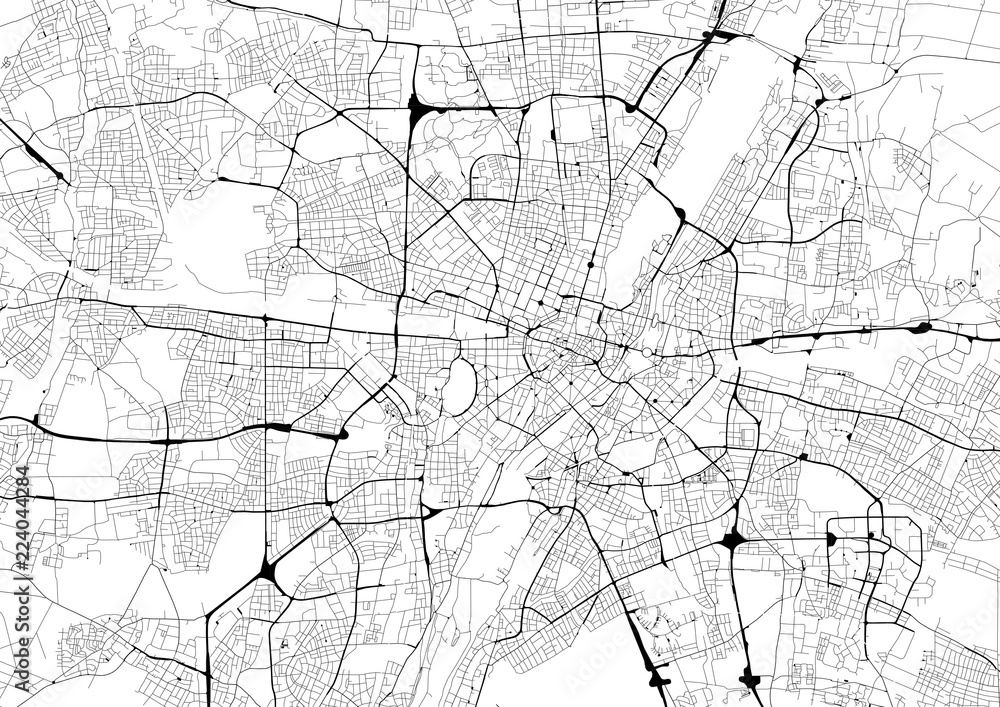 Fototapety, obrazy: Monochrome city map with road network of Munich