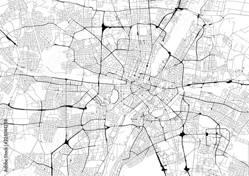 Monochrome city map with road network of Munich