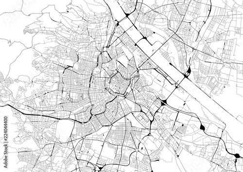 Canvas Print Monochrome city map with road network of Vienna